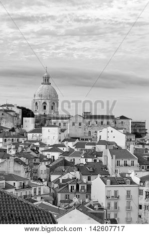 Black and white cityscape at the Alfama District, Lisbon, Portugal