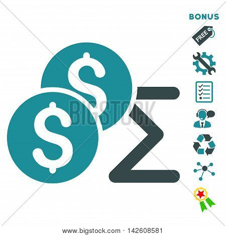 Coin Summary icon with bonus pictograms. Vector illustration style is flat iconic bicolor symbols, soft blue colors, white background, rounded angles.