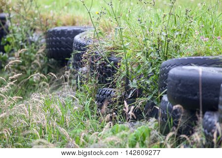 Old Tyre Wall On A Race Track Now Covered With Grass