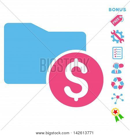 Money Folder icon with bonus pictograms. Vector illustration style is flat iconic bicolor symbols, pink and blue colors, white background, rounded angles.