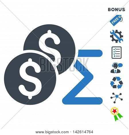 Coin Summary icon with bonus pictograms. Vector illustration style is flat iconic bicolor symbols, smooth blue colors, white background, rounded angles.