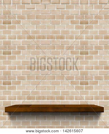 Dark Brown Wooden Shelf On Regular Light Orange Brick Wall,template Mock Up For Display Of Product,b