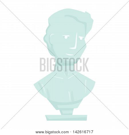 Marble bust. Interior man marble bust isolated on white background. Cartoon stone bust icon. Interior decor elements. Decoration for shelves, bed table, cabinet. History museum elements