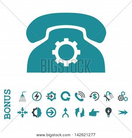 Phone Settings glyph bicolor icon. Image style is a flat pictogram symbol, soft blue colors, white background.