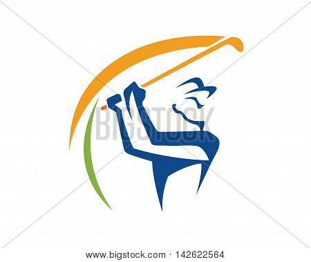 Modern Golf Logo - Swing Golf Symbol