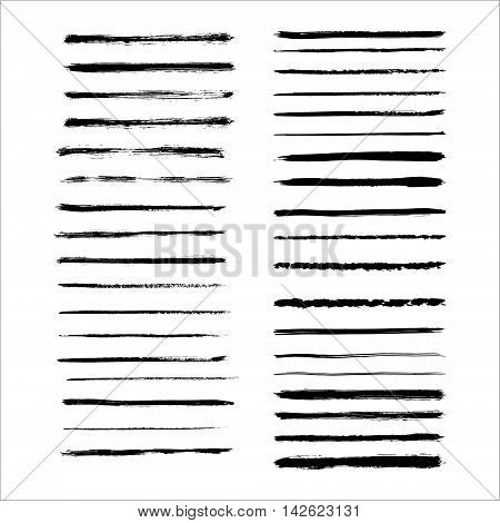 Vector art brushes. Grunge brush set. Black ink brush. All used brushes are included in brush palette.