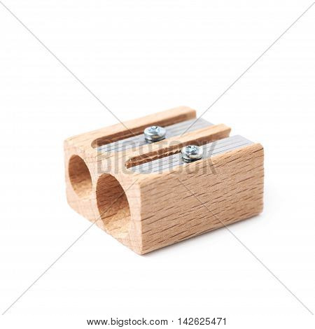 Wooden pencil sharpener isolated over the white background