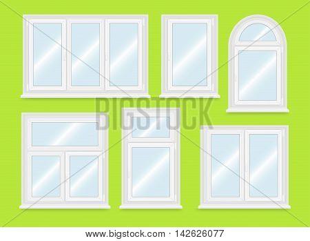 Realistic white plastic windows set. Vector illustration.
