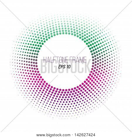 color halftone dotted frame. Round gradient banner. Green and purple. Stock vector background