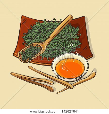 illustration wih dry tea with tea tools and tea bowl