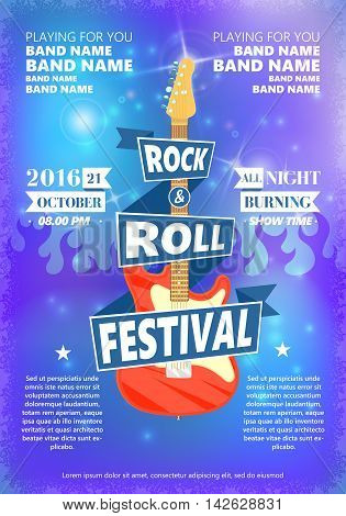 Vintage poster of Rock and roll festival. Hot burning rock party. Cartoon Design element for poster, flyer, emblem, logo, sign. Vector design element