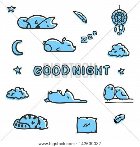 Bedtime vector illustrations isolated on white. Cute sleeping forest animals, fox, raccoon and a couple of birds