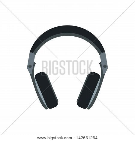Headphones icon in flat style isolated on white background. Music symbol