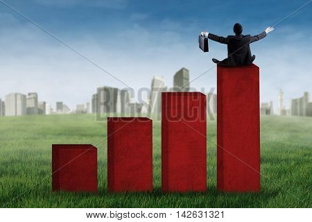 Back view of a successful businessman sitting on the financial graph shot outdoors