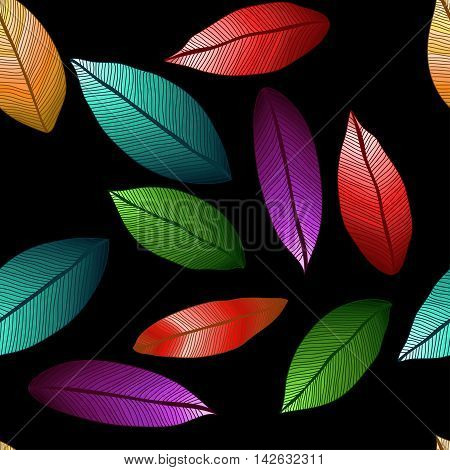 vector colored leaves with degrade effect on black background. Foliage