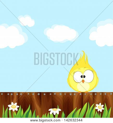Canary sitting on a wooden fence. Cartoon bird Vector illustration eps 10