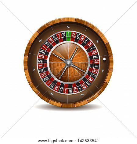 Casino wooden roulette wheel isolated on a white background.
