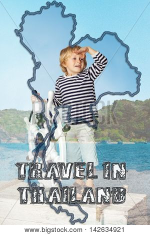 Double Exposure: of little boy Islands and map of Thailand. Text on photo: Travel in Thailand