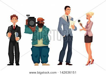 Beautiful female journalist, interviewee, reporter and operator, cartoon style vector illustration isolated on white background. Full height cameraman and reporter, journalist taking interview