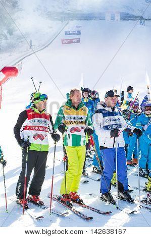 Bansko, Bulgaria - December 12, 2015: Open new ski season 2015-2016 in Bansko, Bulgaria. Marc Girardelli, Markus Wasmeier, Petar Popangelov