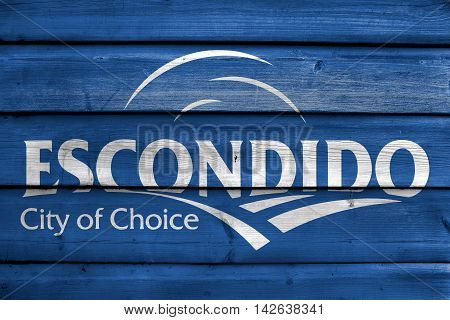 Flag Of Escondido, California, Usa, Painted On Old Wood Plank Background