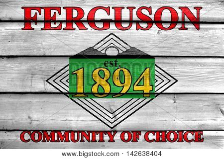 Flag Of Ferguson, Missouri, Usa, Painted On Old Wood Plank Background