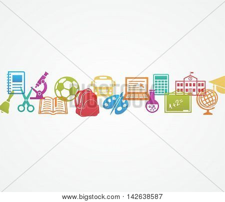 School background with signs and icons on white