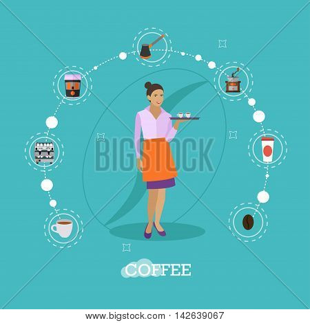 Waitress holds a tray with coffee cups. Cafe concept vector illustration in flat style design.Barista icons.