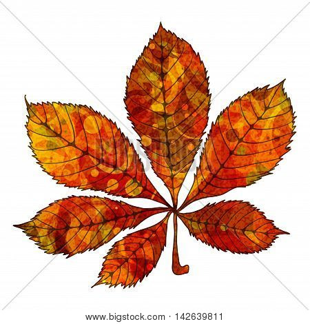 Bright red chestnut leaf with veins like watercolor on a white background. Vector illustration.