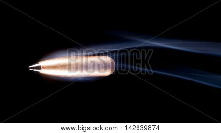 Lead bullet with a polymer tip and copper plate with smoke