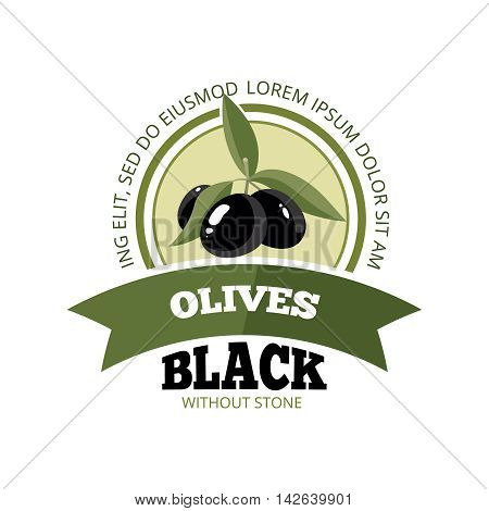 vector emblem of three black Olives with leafs isolate on light background. Pictures for your personal design project. Template for logo, badges, emblems or label design.