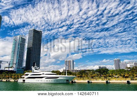 Miami, Luxury Yacht In Dock