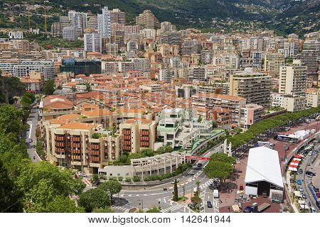 MONACO, MONACO - JULY 17, 2015: View to the buildings and roofs in downtown Monaco, Monaco.