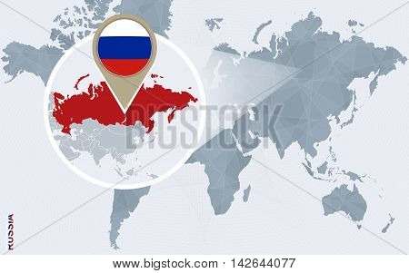 Abstract Blue World Map With Magnified Russia.