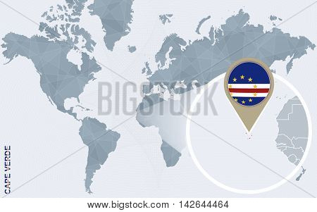 Abstract Blue World Map With Magnified Cape Verde.