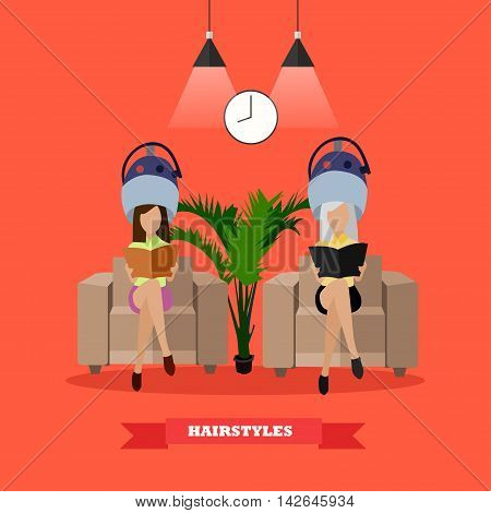 Beauty salon vector concept banners. Women in beauty studio drying hair illustration in flat cartoon style.