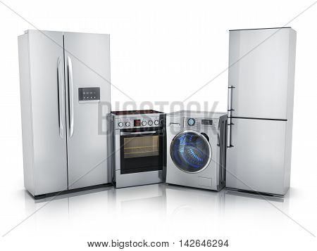 Modern consumer electronicsFridgewasher and electric-cooker (done in 3d rendering)