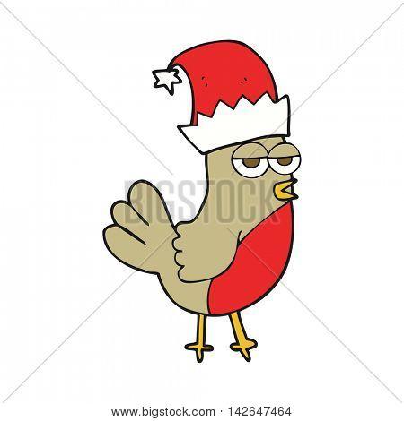 freehand drawn cartoon robin in christmas hat
