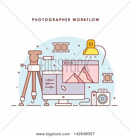 The photographer's workflow. Photographer workplace. Photo processing. The modern line art vector illustration for the web site.