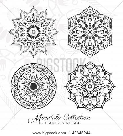 Set of Tibetan mandala decorative ornament design for coloring page greeting card invitation tattoo yoga and spa symbol. Vector illustration