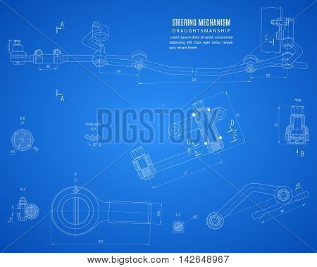 blueprint of steering mechanism project technical drawing on the blue background. stock vector illustration eps10
