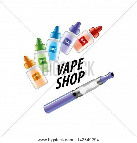 logo with liquids in vials to store the electronic cigarette. Vector illustration poster