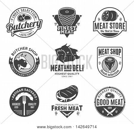 Set of butchery black and white logo icons and design elements for grocery food labels and meat store branding and identity.
