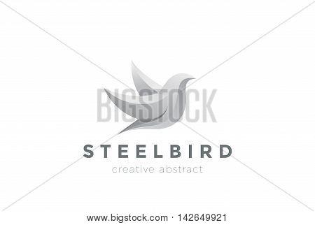 Steel Metal Flying Bird Logo design vector. Dove Logotype icon