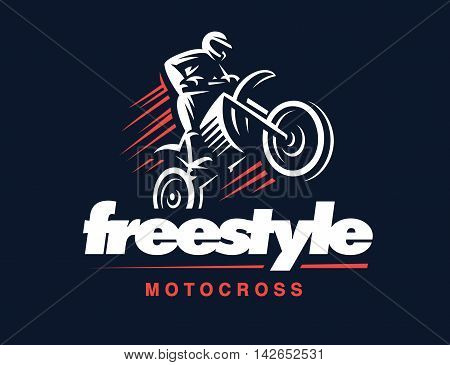 Motorcycle logo illustration on white background, motocross freestyle