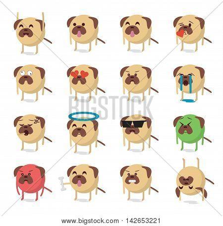 Set of dog emoticon vector. Emoji vector.