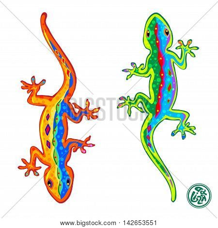 Beautiful stylized colored lizards isolated on white background Gecko. Vector illustration.
