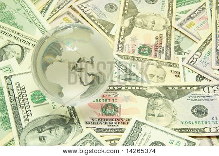 globe isolated on a dollars background poster