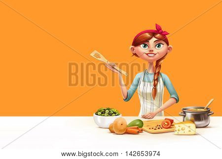 illustration of housewife in the kitchen cooking