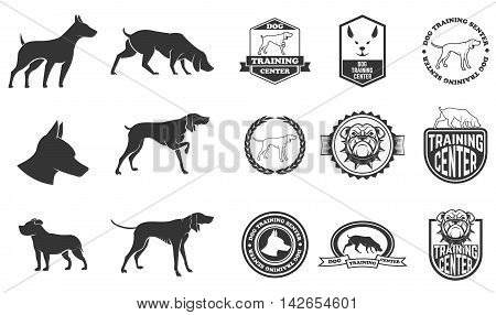 Set of dog icons labels and design elements. Dog training center. Vector illustration.